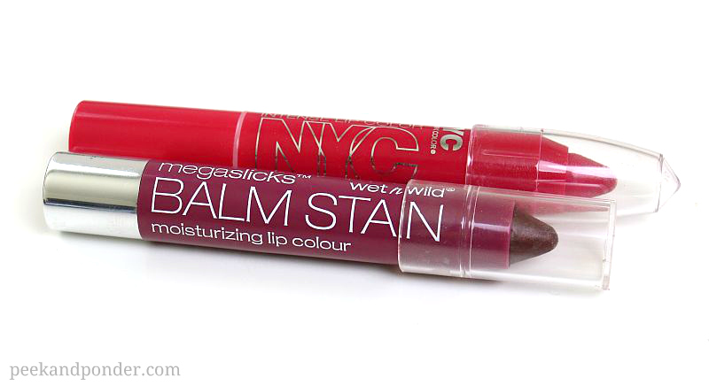 NYC twistable lip color vs. Wet n Wild balm stains