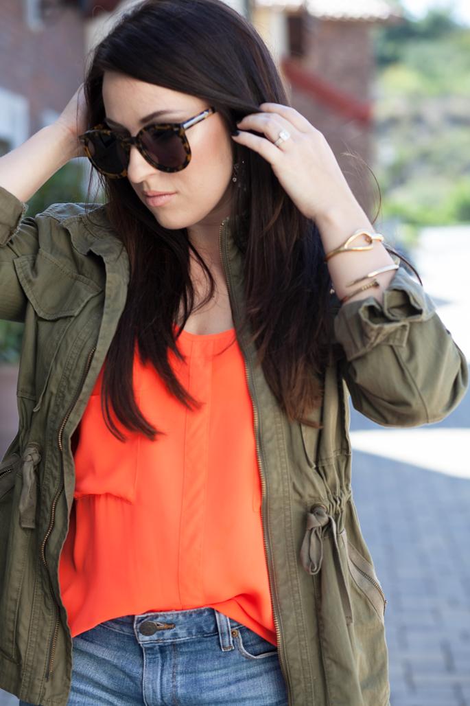 envy my hair extensions, cuyana tote, jcrew utility jacket, le tote top, Karen Walker Sunglasses