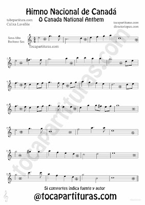 Tubescore Canada Nathional Anthem sheet Music for Alto Saxophone and Baritone Saxophone O Canada Music score