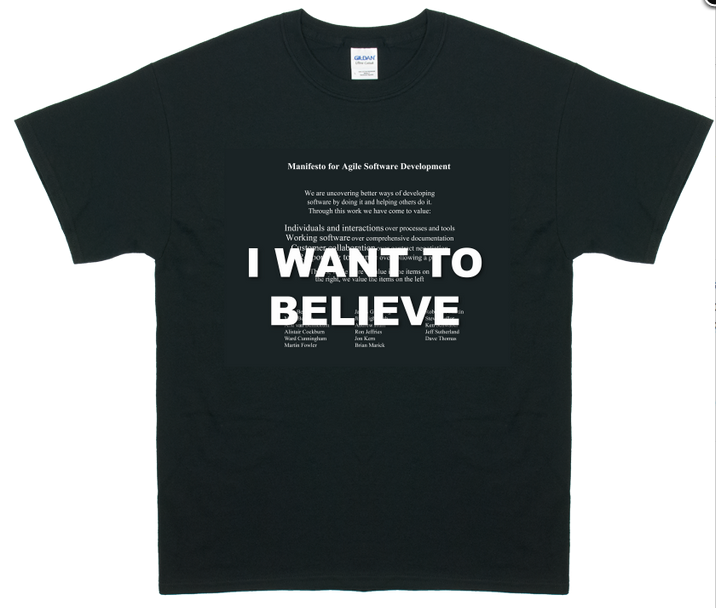 I Want to Believe - Agile Manifesto T-Shirt (black)