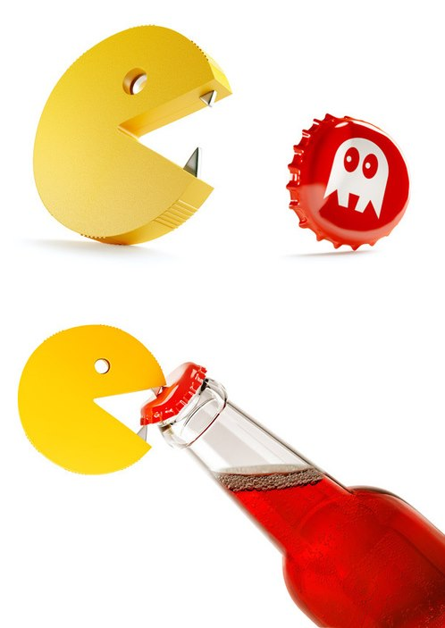 pac man opening a bottle