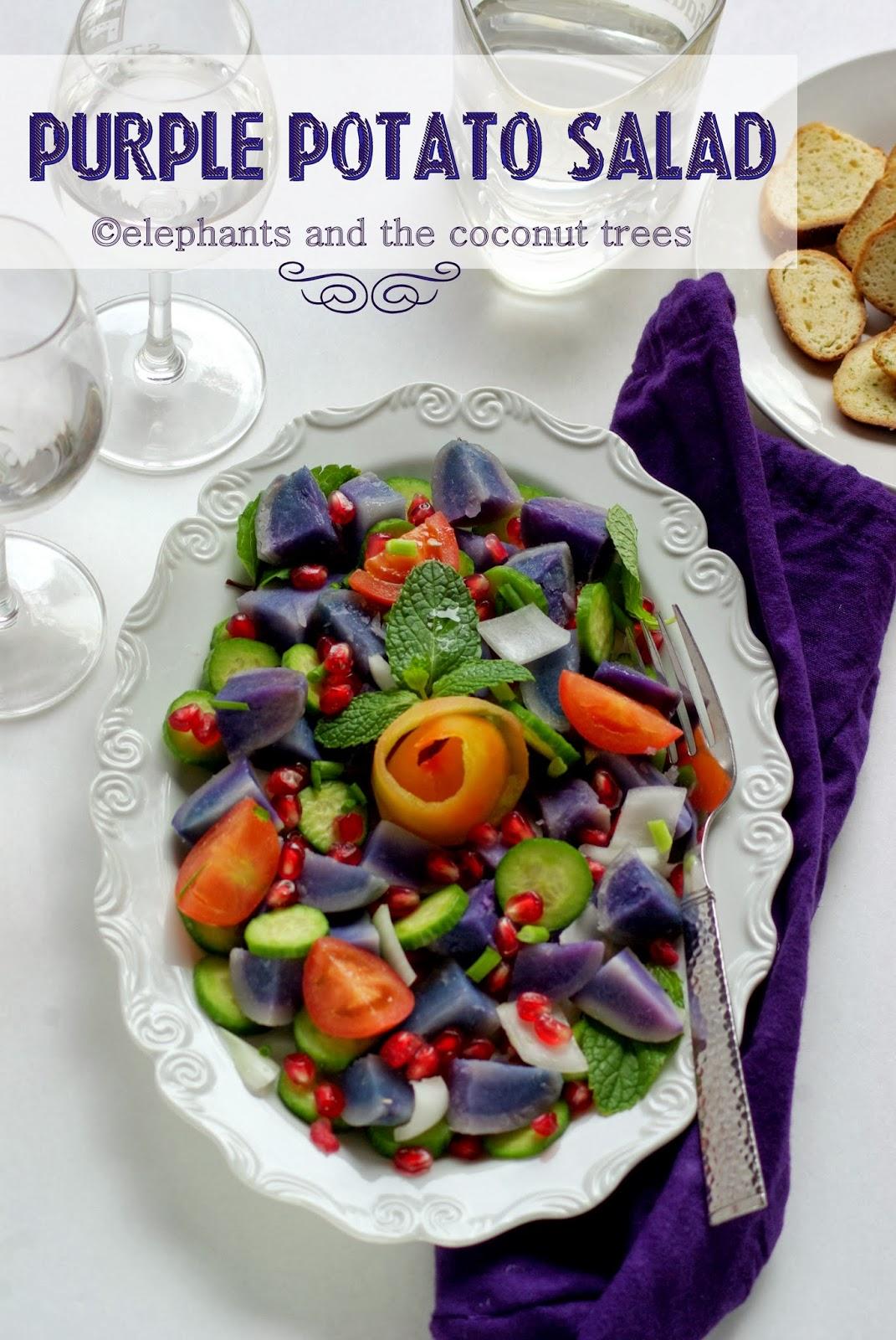 ... and the coconut trees: Purple Potato Salad with Grapefruit Vinaigrette