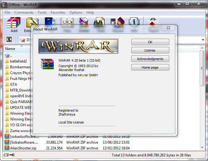 WinRAR 4.20 Beta 3 Full Crack.