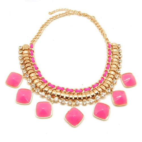 neon pink gold choker necklace