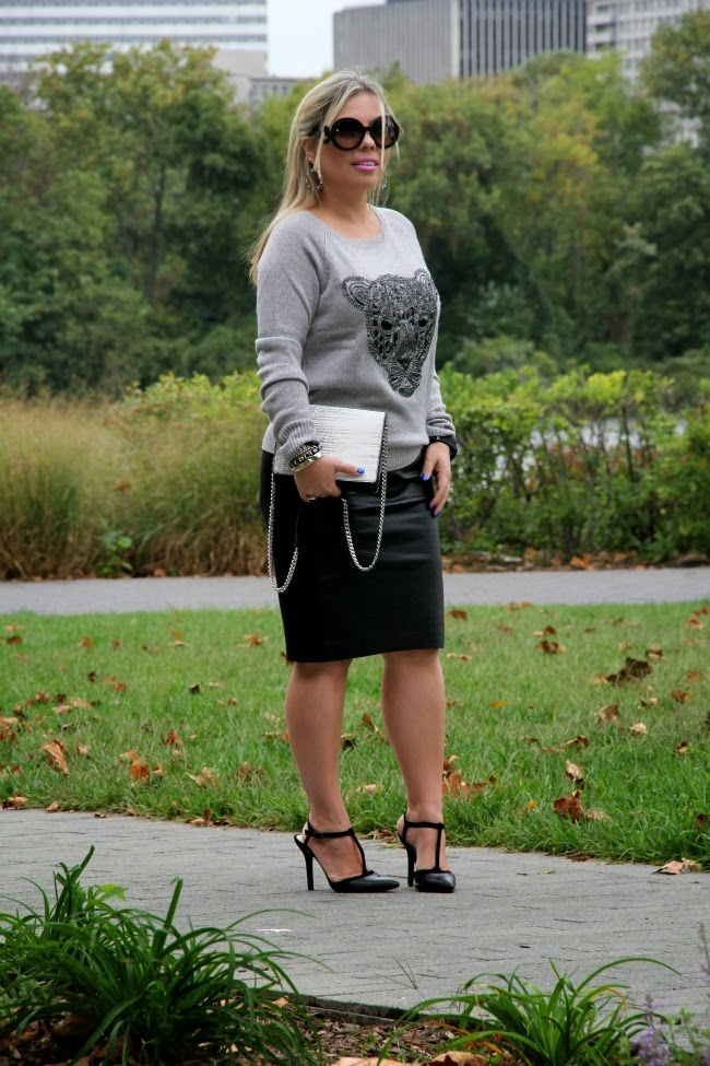 Black Leather Pencil Skirt - Anthrologie, Gray Jaguar Sweater and Black and White Bag - H&M, Shoes - BCBG via TJ Maxx, Prada Baroque Round - Nordstrom, Hoop Gem Earrings - Nordstrom Rack, Bracelets - Forever 21 and my own