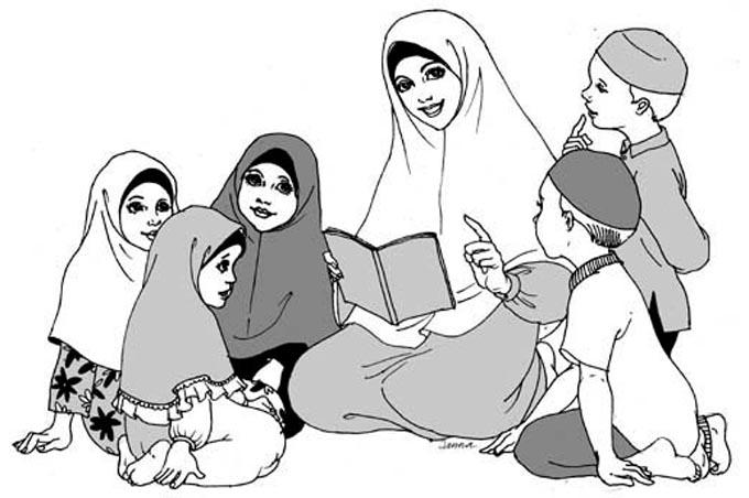 سيدة تعلم الأطفال اللآداب وهم مجتمعين حولها للتلوين