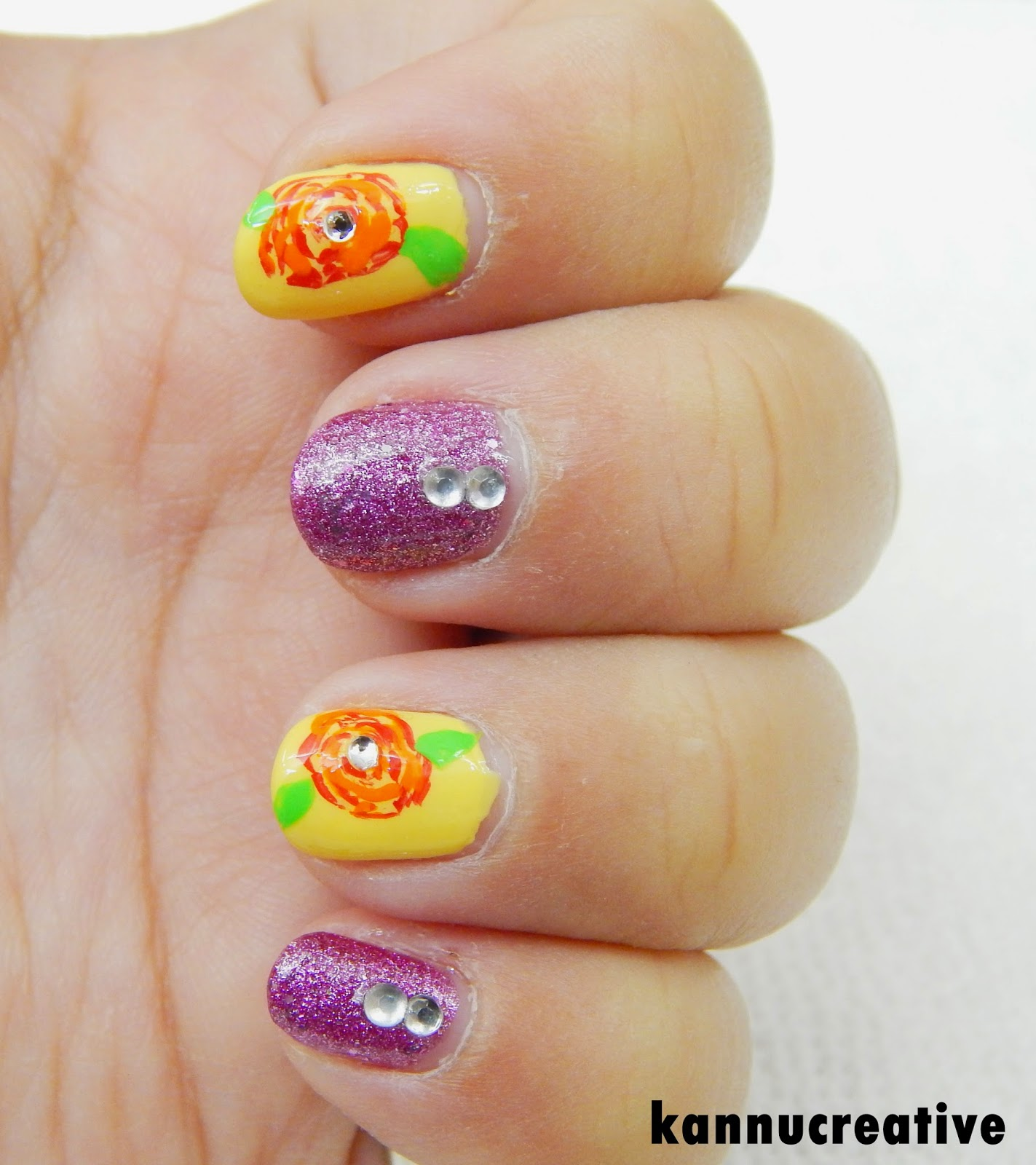 Her Creative Palace: SIMPLE ROSES GLITTER NAIL ART