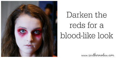 Darken the Reds for a More Realistic Blood-Like Look - Zombie Makeup Tutorial Halloween Face Painting