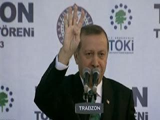 Erdogan mengangkat tangan simbol Rabia