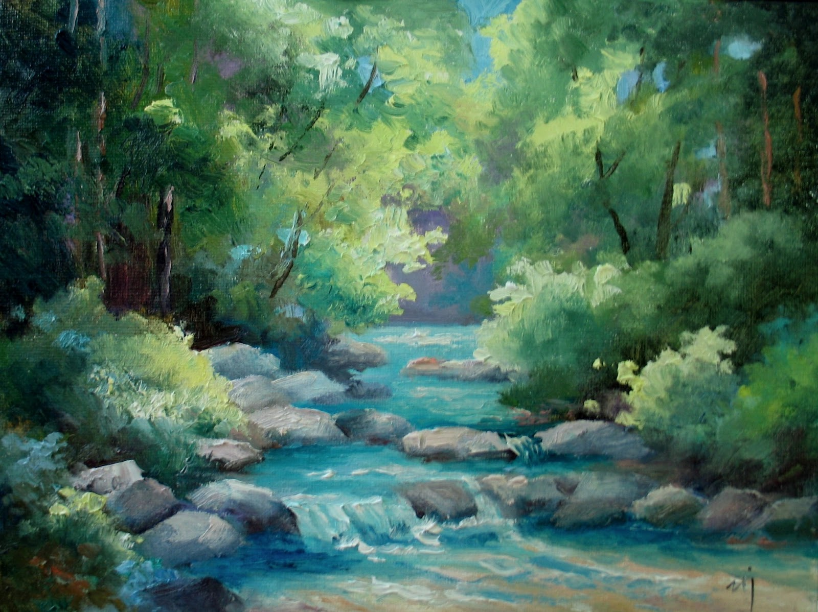 Nel 39 s everyday painting creek in oils and acrylics sold for Oil or acrylic
