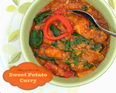Sweet Potato Curry with Red Lentils, Roasted Peppers & Spinach, one of 12 Best Recipes of 2013 from A Veggie Venture