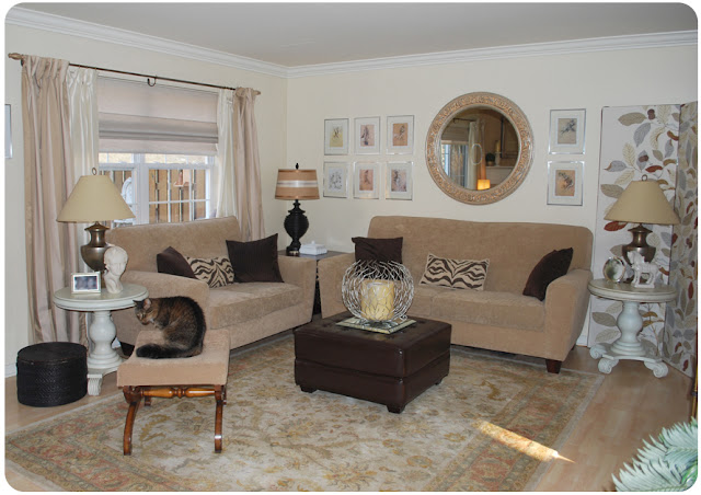 brown and beige living room makeover