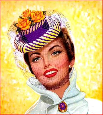 mujer retro con sombrero