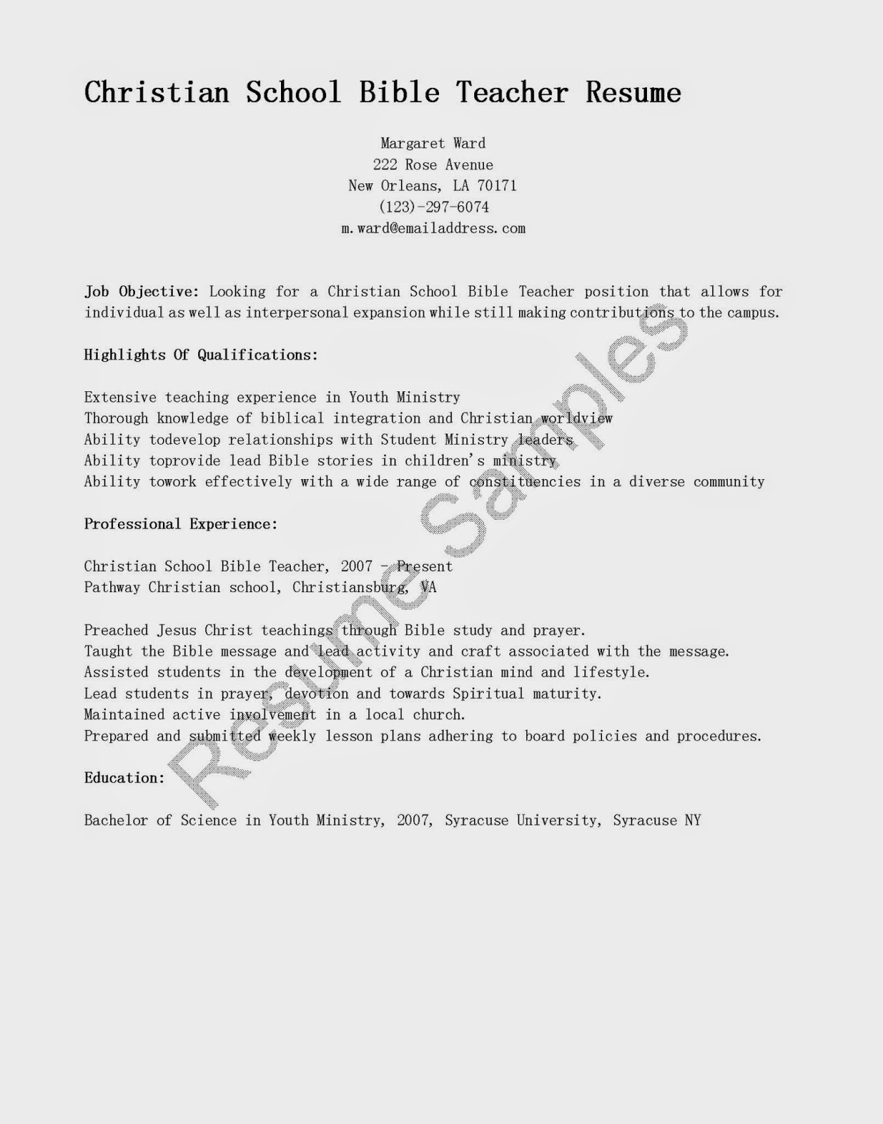 resume samples  christian school bible teacher resume sample