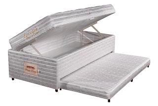 Colchão de solteiro com cama auxiliar e bau