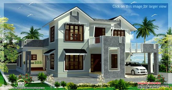 2800 Square Feet Sloping Roof 4 Bedroom House