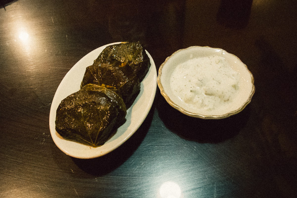 Dolmeh (stuffed grape leaves) at Persian/Iranian restaurant House of Kabob in Nashville Tennessee