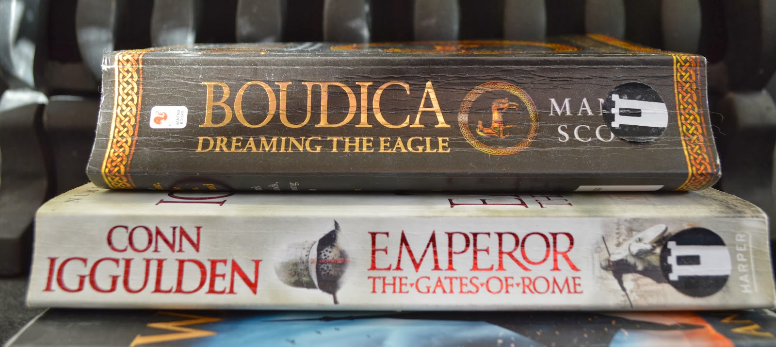 historical fiction, swords and sandals, novels, books, what to read if you like Game of Thrones, GoT, Boudica, Manda Scott, Holy Warrior, Angus Donald, Conn Iggulden, Gates of Rome, Book&acuppa, Book and a cuppa, book spine, book stack, front cover, paperback