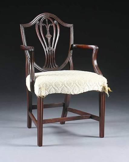 Mahogany elbow chair in the Hepplewhite style, made circa 1790