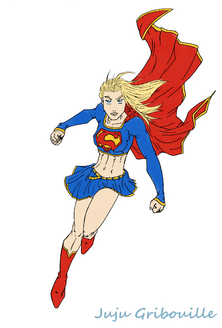 Colorisation de Super Girl sous Gimp: clean et aplats