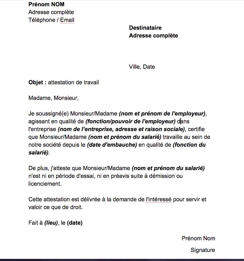 Modele Certificat De Travail Juillet 2014 Document Online