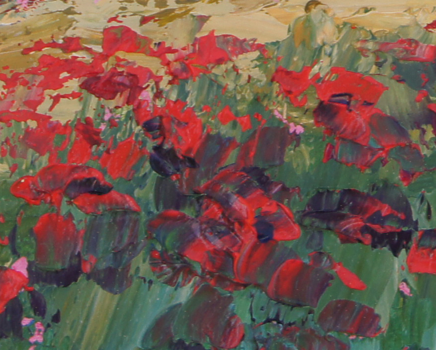 Oil Colour Painting Fields Of Poppies