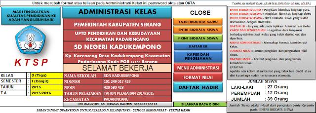 Aplikasi Administrasi Kelas KTSP SD 2015