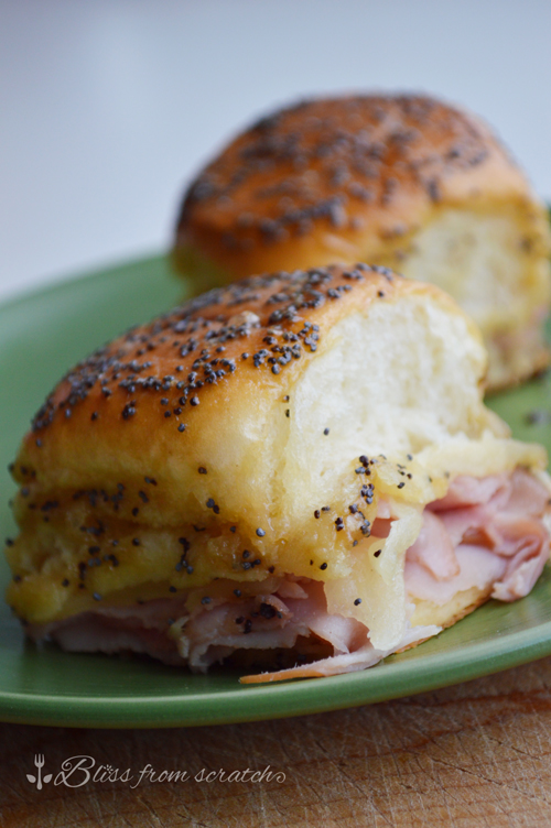 Ham and Swiss Sliders with Sweet Poppy Seed Glaze