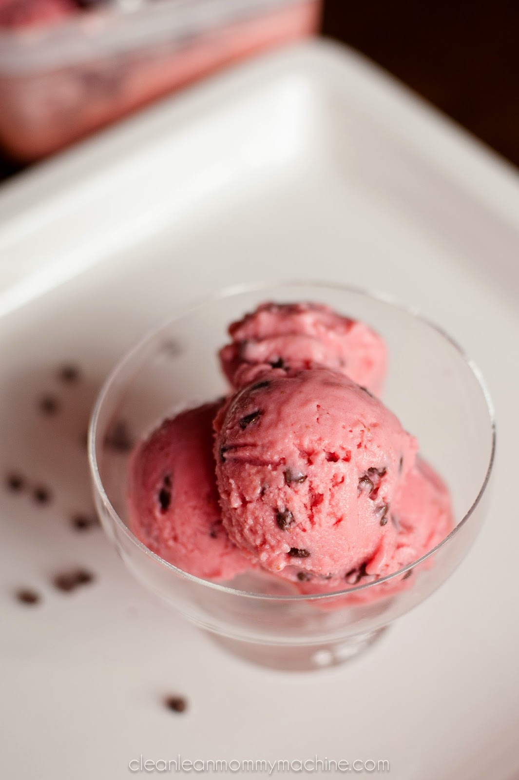 Chocolate Chip-Strawberry Frozen Yogurt Recipe — Dishmaps