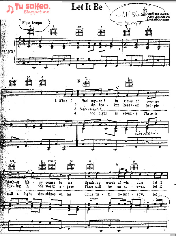 Partitura Let it be The beatles