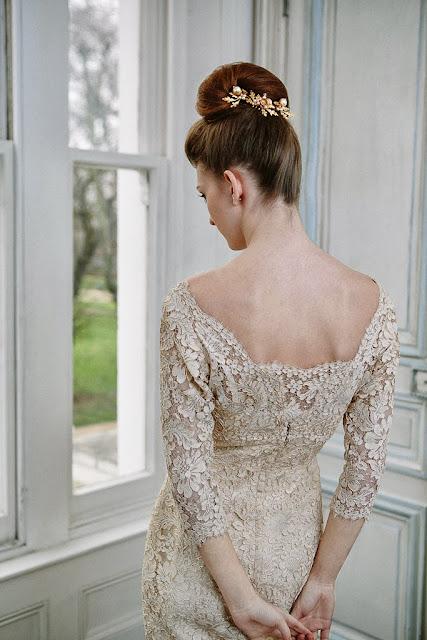 Full length lace 1960s dress, neckline and back of bodice, A guide to 1960s vintage wedding dresses, c HVB vintage wedding blog 2013