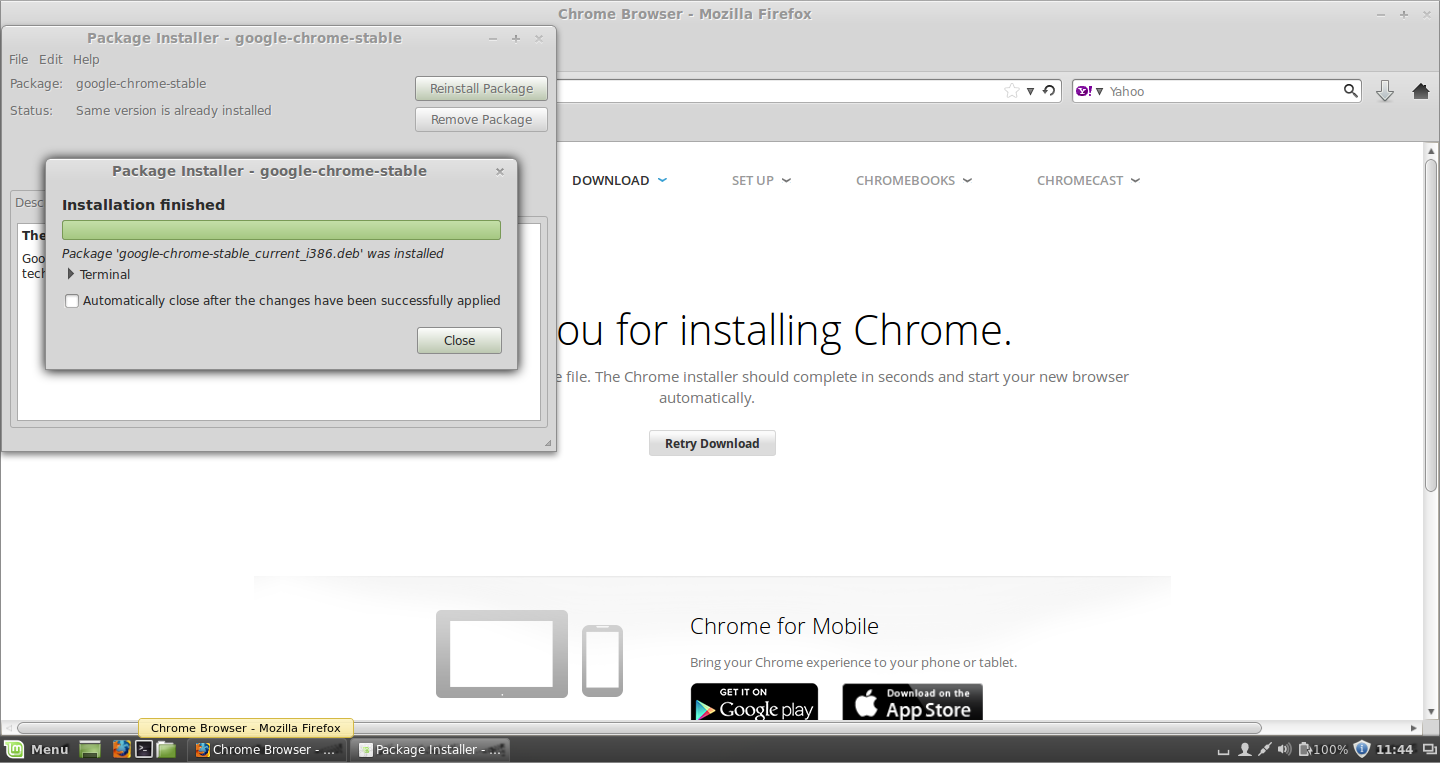 Linux Mint - Installing Google Chrome -gdebi-gtk Package Installer