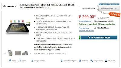 10,1 Zoll-Tablet Lenovo IdeaPad K1 M7187GE bei cyberport für 303,99 Euro