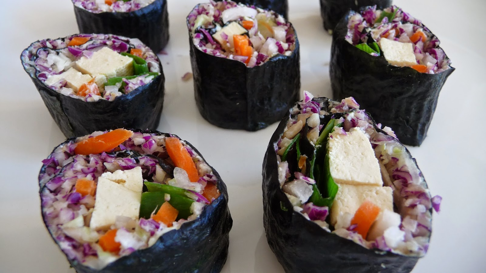 Riceless Sushi Rolls filled with Delicious Colorful Vegetables. A ...