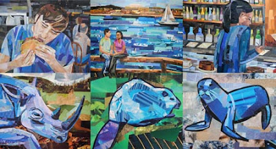 Blue Collages by collage artist Megan Coyle