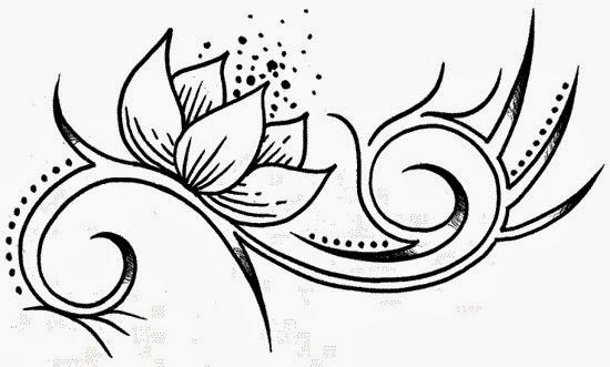Lotus tribal tattoo stencil