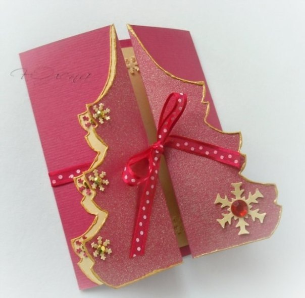 Tarjetas navide as con forma de arbol de navidad - Postales navidenas para hacer ...