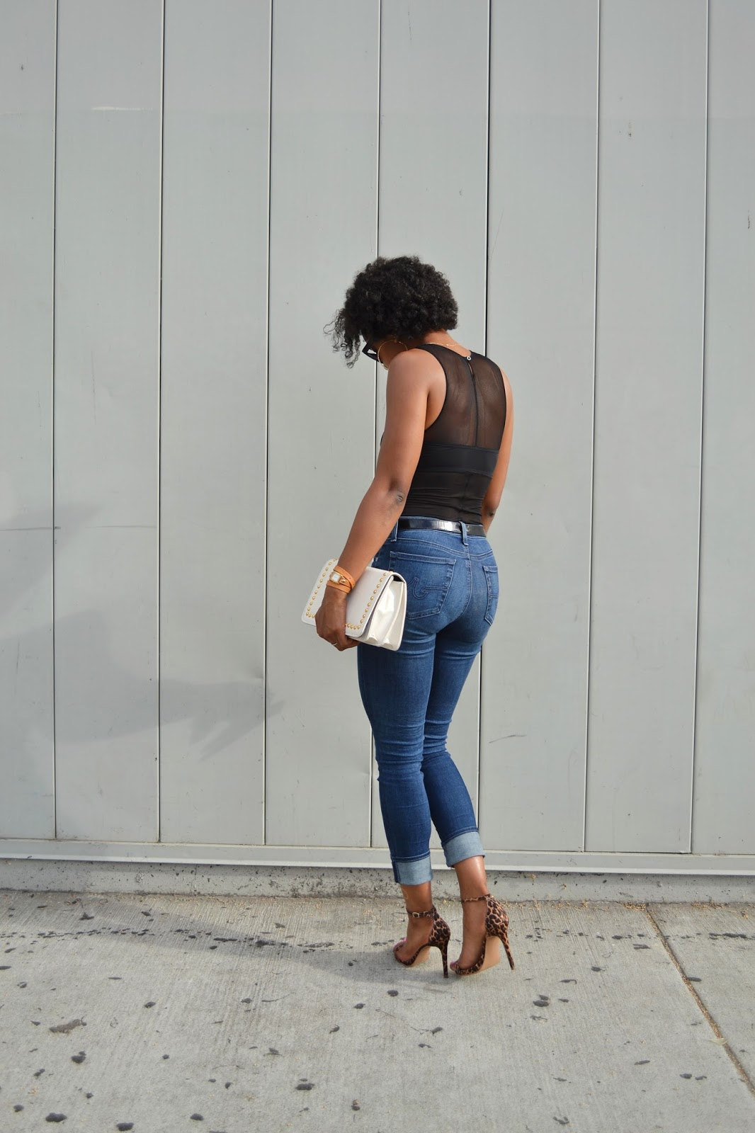 Wearing // H&M bodysuit, AG jeans, Abound heels, H&M men's sunglasses, La Mer Collections watch, Vintage bag, M.A.C. Ruby Woo lipstick