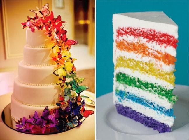 интересна сватбена торта с пъстри пеперуди и блатове