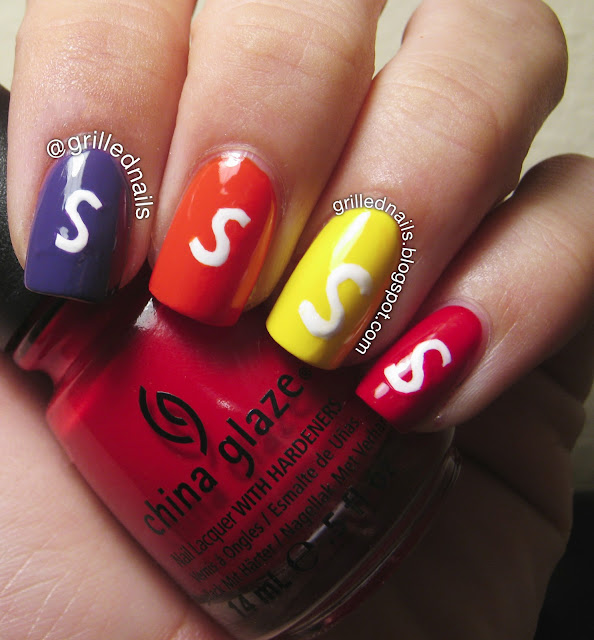 grillednails grilled nails hector alfaro skittles nailartfeb february 2013 candy rainbow nail art China Glaze