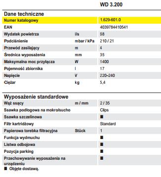 Dane techniczne odkrzacza WD 3.200 KÄRCHER