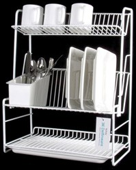 Three-tier plate rack.