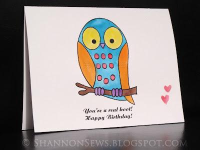 owl handmade birthday card created with diy watercolor paint