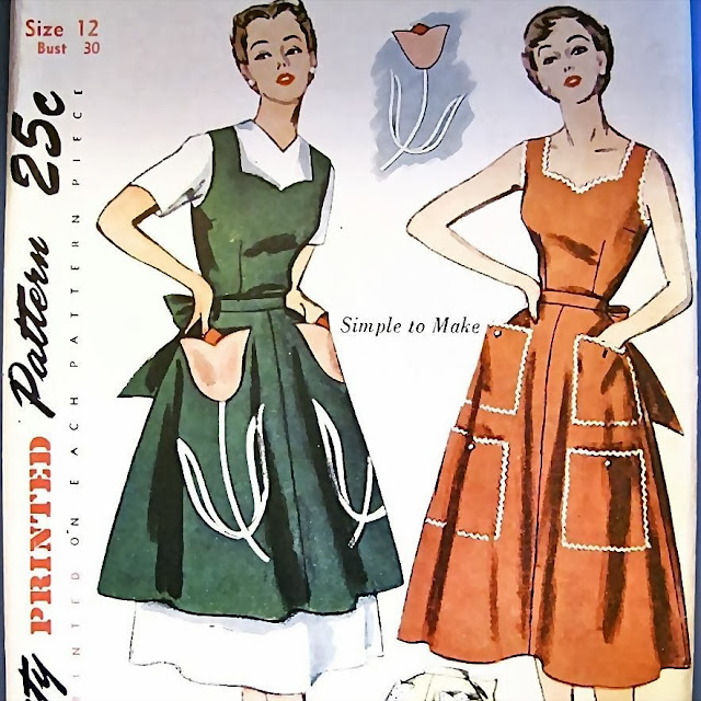 1940s pinafore apron sweetheart dress sewing pattern Just Peachy, Darling