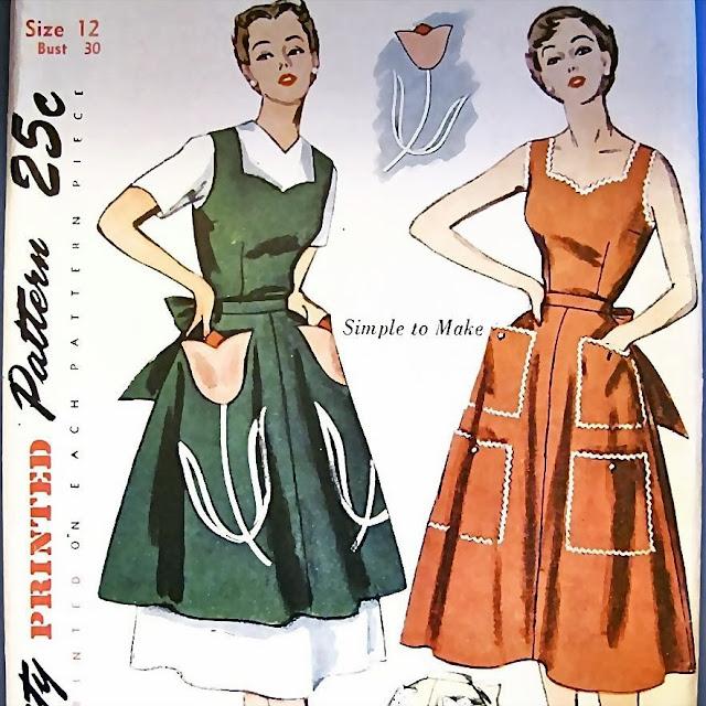 1940s pinafore apron sweetheart dress sewing pattern Just Peachy, Darling