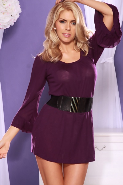 PURPLE SCOOP NECK LONG SLEEVES RUFFLE CUFF SEXY MINI DRESS