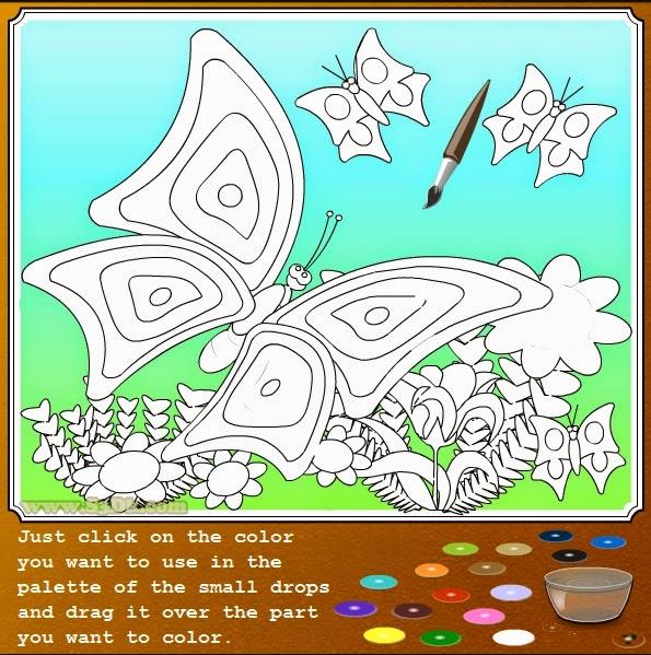 Раскраска для девочек - бабочки на цветах.