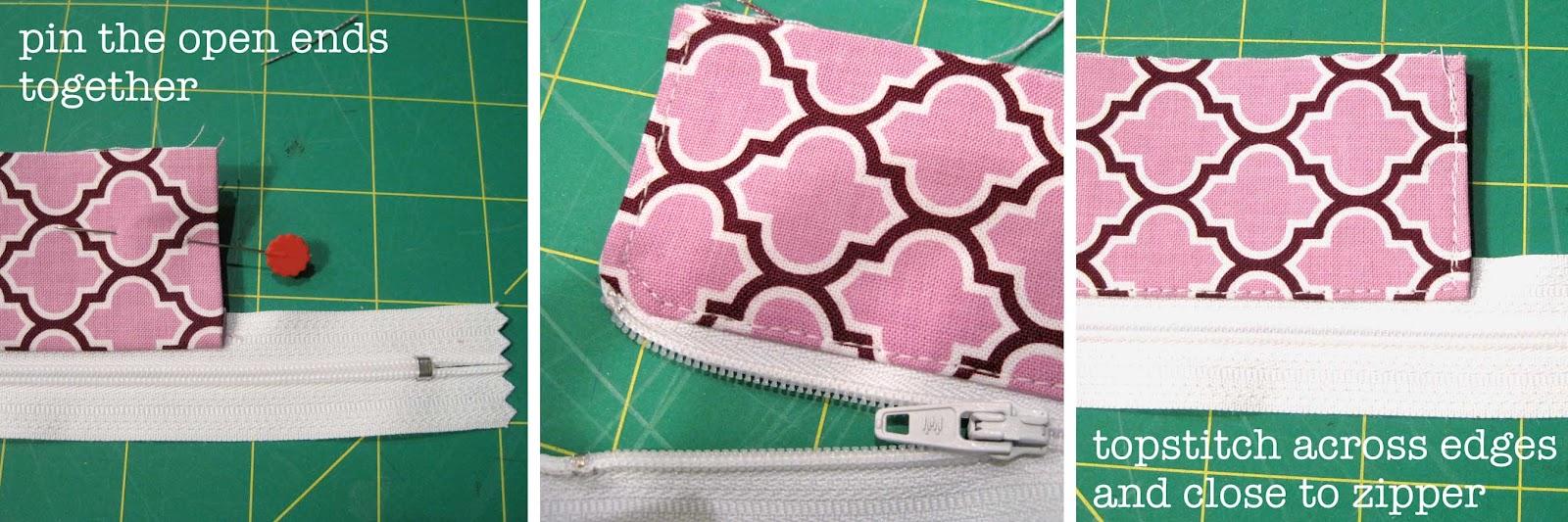 how to put a zipper in a purse tutorial