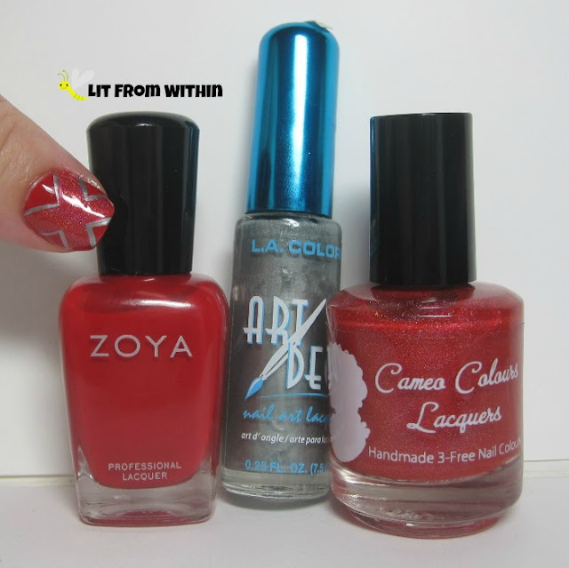 Bottle shot:  Cameo Colors Smoldering Tempress, silver nail art striper, and Zoya Sooki