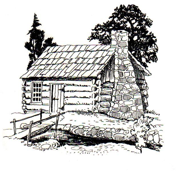 Cabaña junto al río: dibujo para colorear